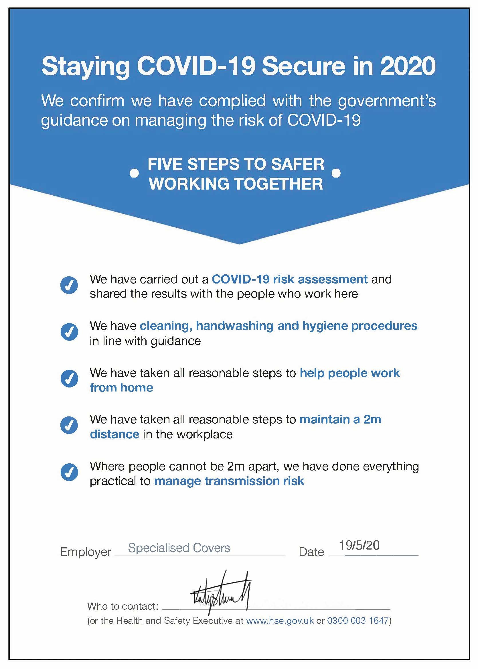 Staying Covid 19 Secure in 2020